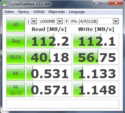 TTranscend benchmark pri USB 3.0
